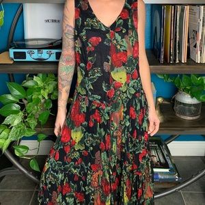 Vintage 90s strawberry print cotton grunge dress